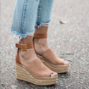 Chloe Suede & Leather Espadrille Wedge Sandals 39
